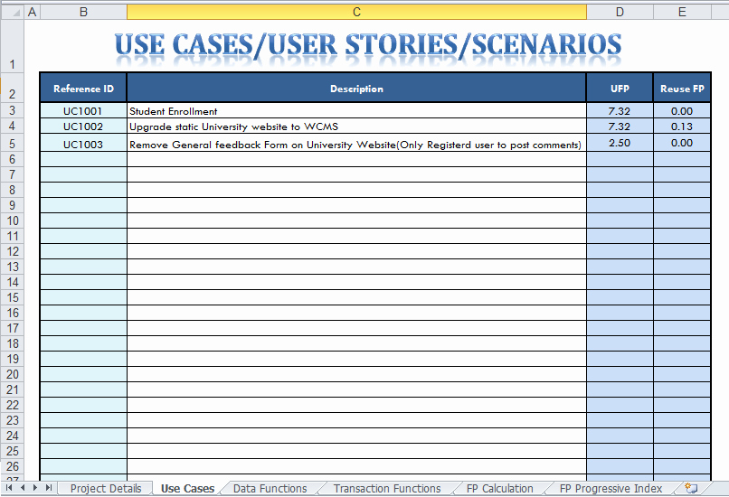 Test Case Template Excel Awesome Function Point Analysis