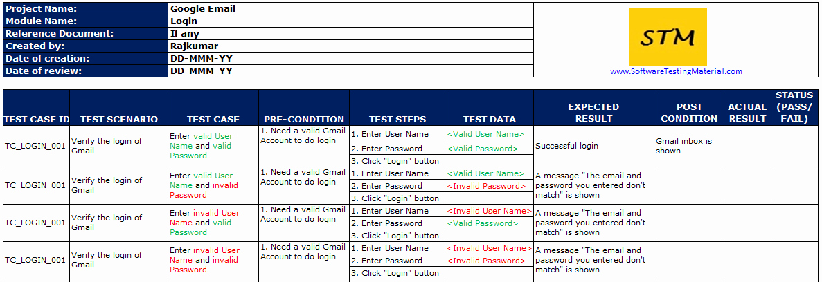 Test Case Template Excel Lovely Test Case Template with Explanation