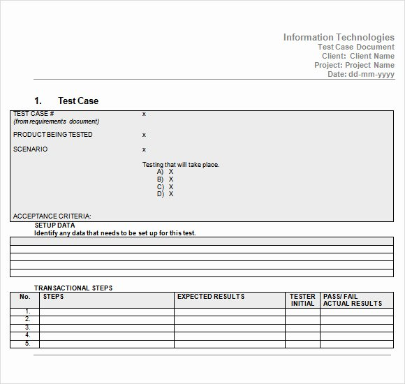 Test Case Template Excel Luxury Free 9 Useful Test Case Templates In Pdf Word