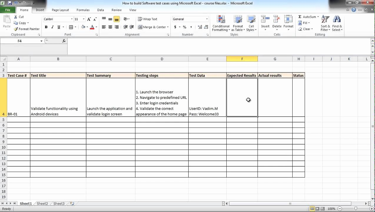 Test Case Template Xls Lovely software Testing Using Excel How to Build Test Cases