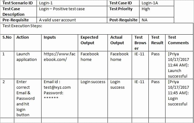 Test Case Template Xls Unique Sample Test Case Template with Test Case Examples [download]