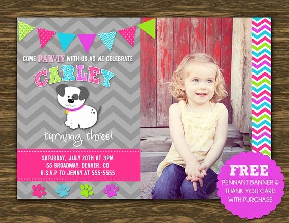 Thank You Banner Ideas New Girl Puppy Birthday Invitation Printable Free Pennant Banner and Thank You Card with