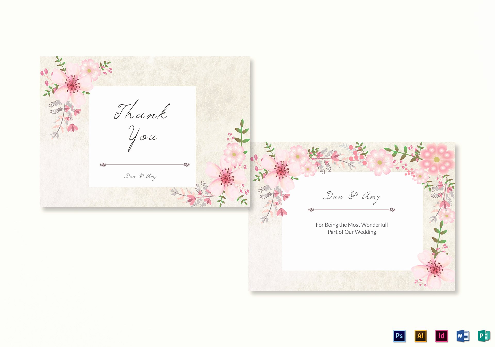 Thank You Card Template Word Awesome Pink Floral Thank You Card Design Template In Psd Word Publisher Illustrator Indesign