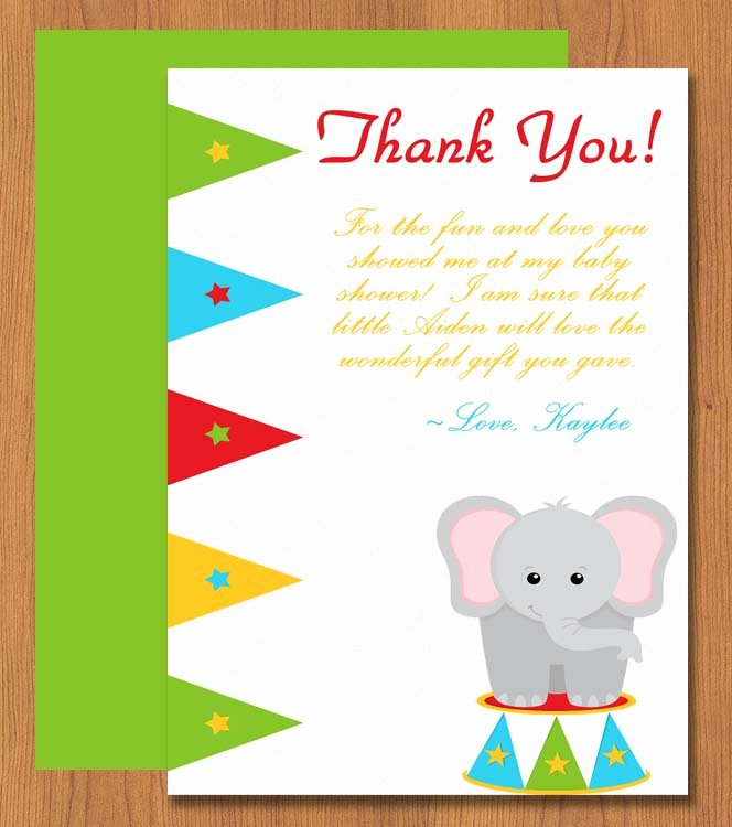 Thank You Card Template Word Awesome Printable Elephant Thank You Card Microsoft Word Template
