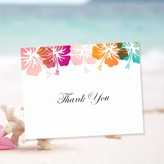 Thank You Card Template Word Beautiful Printable Thank You Card Template Hibiscus