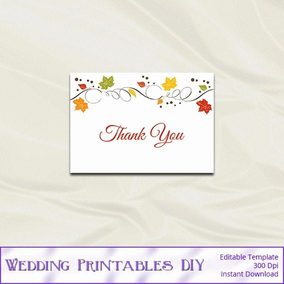 Thank You Card Template Word Lovely Items Similar to Fall Wedding Thank You Card Template Diy Autumn Leaves Shower Party Thankyou