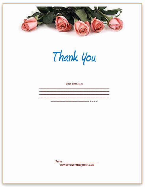 Thank You Card Template Word Lovely Thank You Template