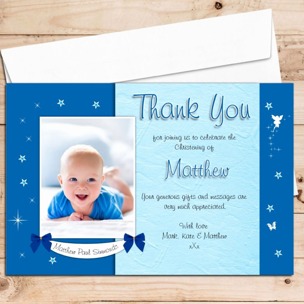 Thank You Cards for Baptism Inspirational 10 Personalised Boys Star Glow Christening Baptism Thank You Photo Cards N196