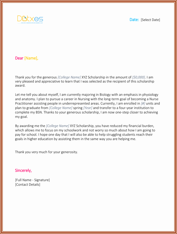 Thank You Letter for Scholarship Beautiful Scholarship Thank You Letter 7 Sample Templates You Should Send