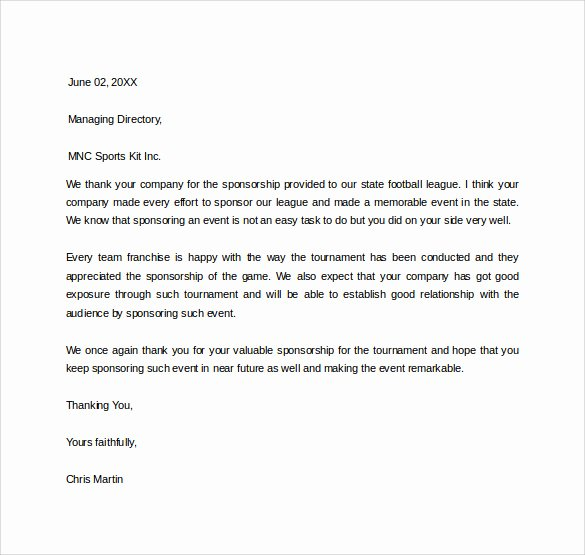 Thank You Letter for Sponsorship Beautiful 29 Sample Sponsor Thank You Letters Pdf Word