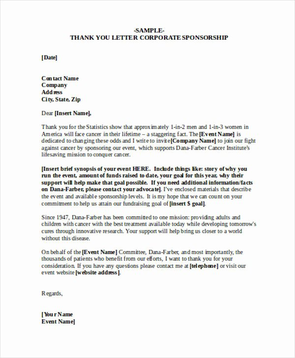 Thank You Letter for Sponsorship Luxury Free 74 Thank You Letter Examples In Doc Pdf