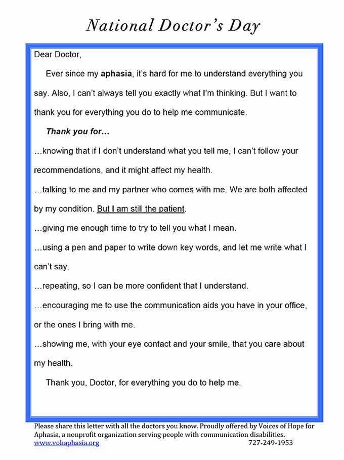 Thank You Letter to Doctor Beautiful Thank You Doctor From Your Patient with Aphasia