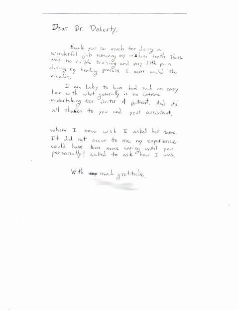 Thank You Letter to Doctor Unique oral Surgery Patient Reviews Medford or