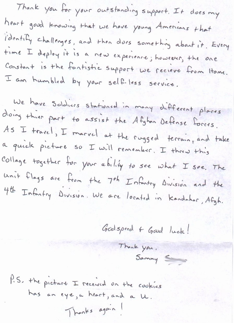 Thank You Letter to soldiers Beautiful Care Packages for sol Rs sol R In Afghanistan Sends