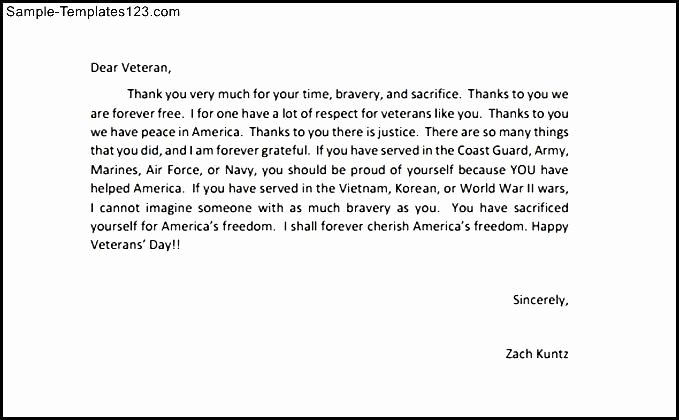 Thank You Letter to soldiers Luxury Thank You Letters to Veterans Example
