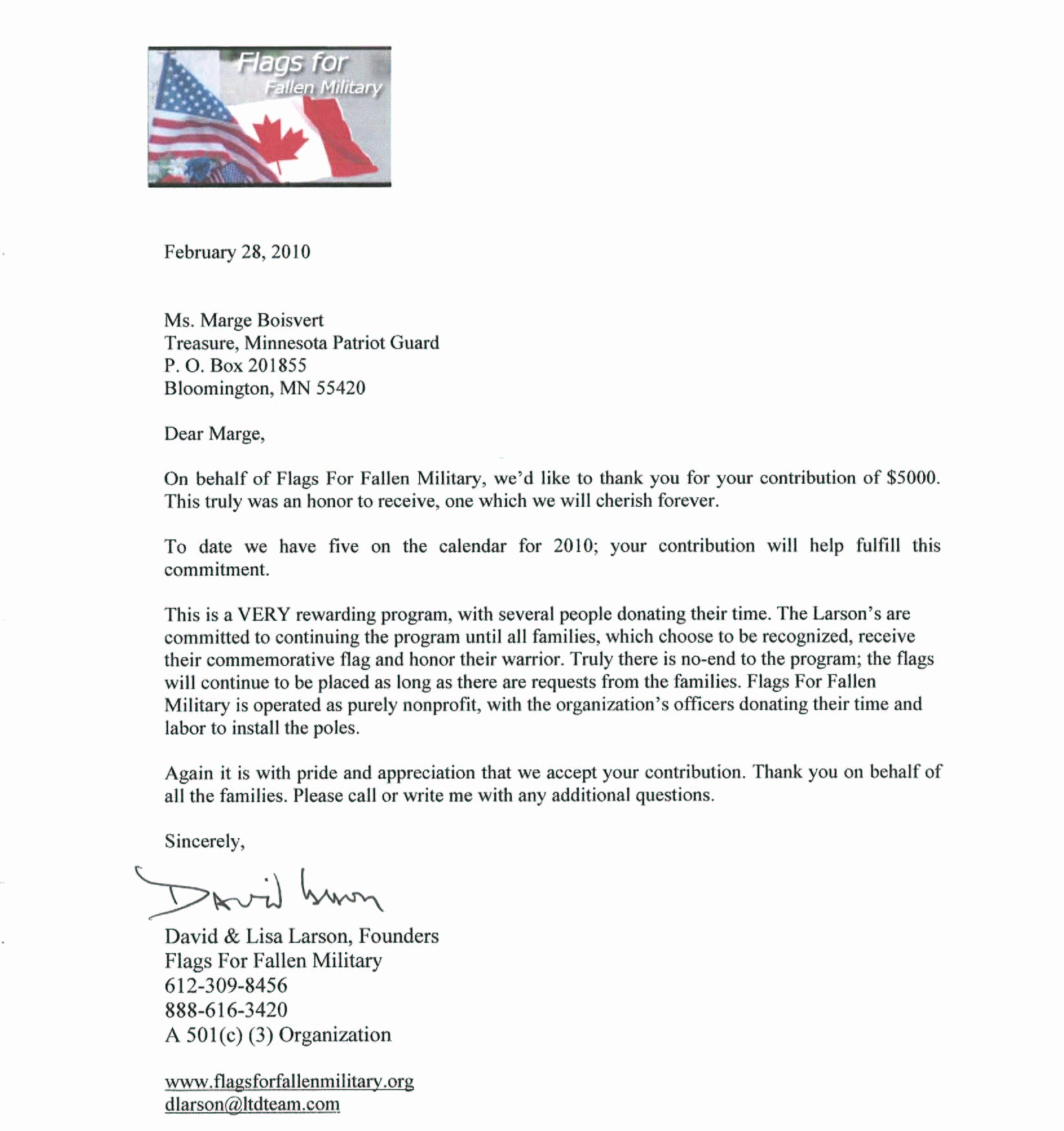 Thank You Letter to soldiers New Minnesota Patriot Guard