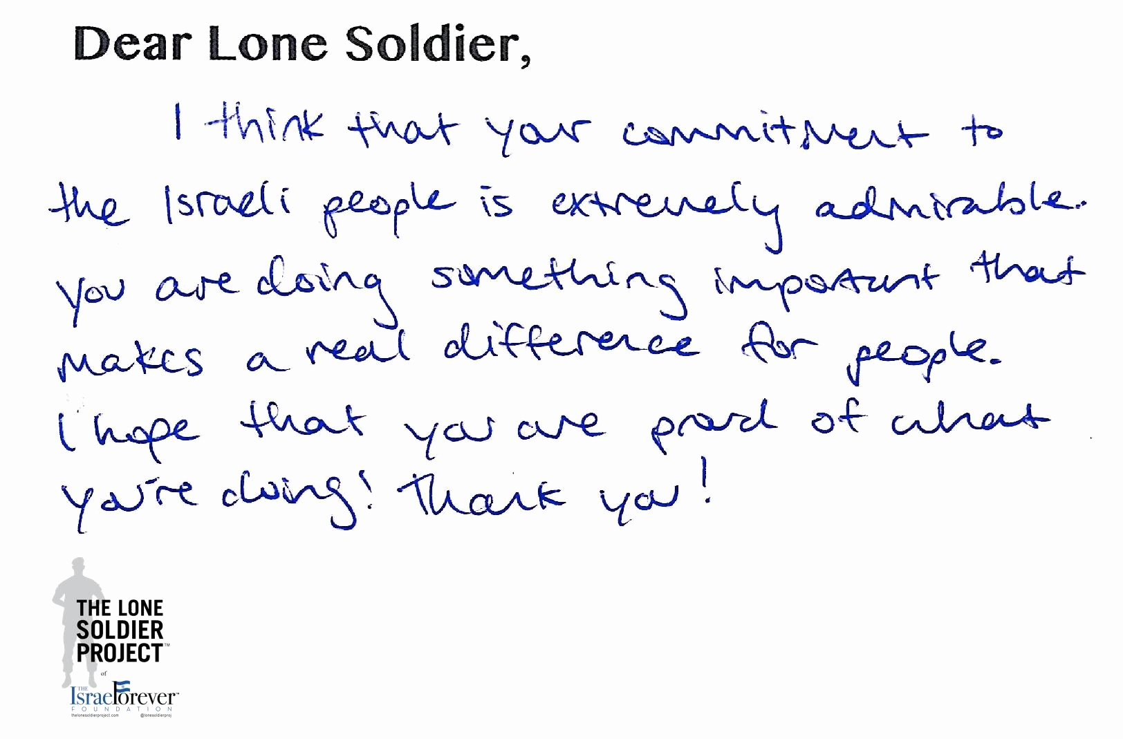 Thank You Letter to soldiers New News the israel forever Foundation