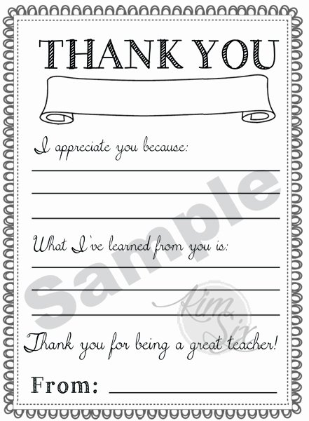 Thank You Letter to Teacher New Thank You Teacher Appreciation Note