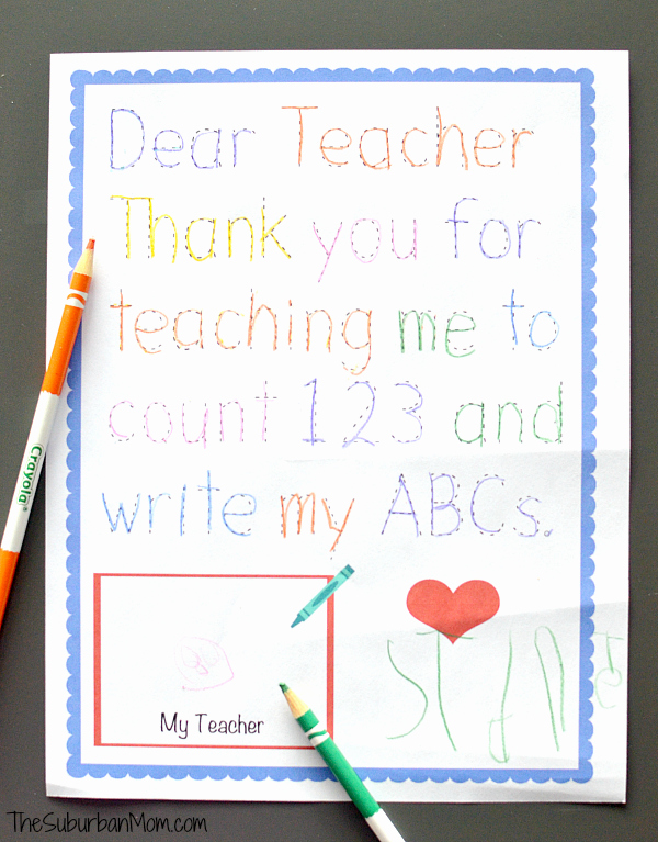 Thank You Letter to Teacher New Traceable Preschool Teacher Thank You Note
