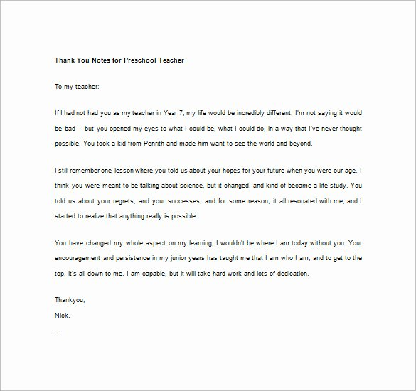Thank You Letter to Teacher Unique 10 Thank You Notes for Teachers – Free Sample Example format Download