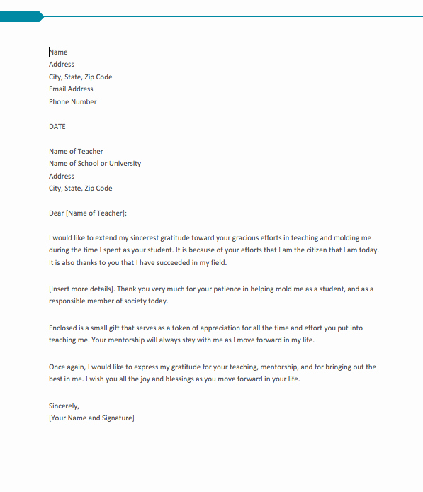 Thank You Letters to Teachers Elegant Thank You Letter for Teacher From Student top form Templates