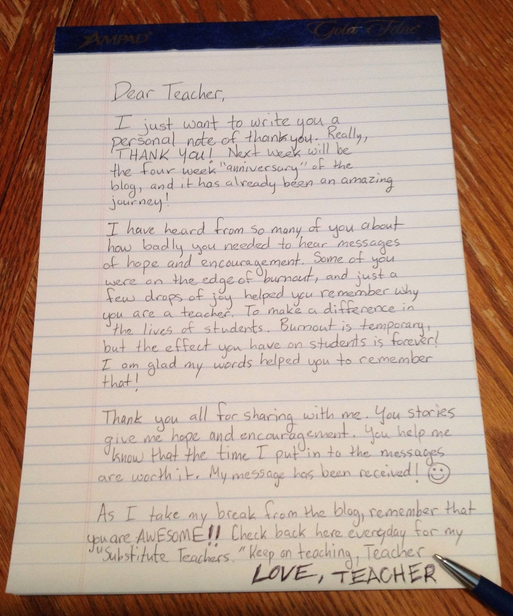 Thank You Letters to Teachers Inspirational Teacher Thank You Note – Dear Teacher Love Teacher
