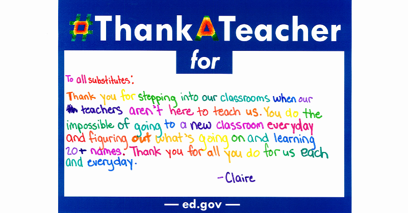 Thank You Note for Teacher Awesome Ess