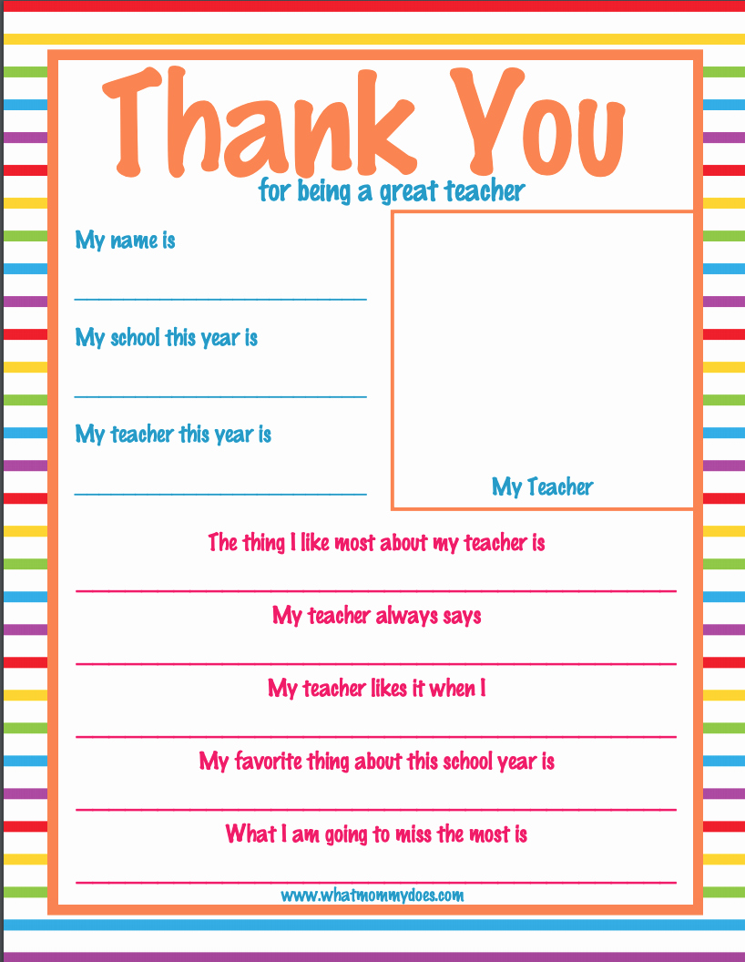 Thank You Note for Teacher Awesome Teacher Appreciation Week Thank You Letter Super Cute What Mommy Does