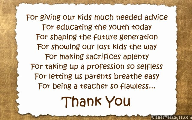 Thank You Note for Teacher Awesome Thank You Messages to Teachers From Parents Notes and Quotes – Wishesmessages