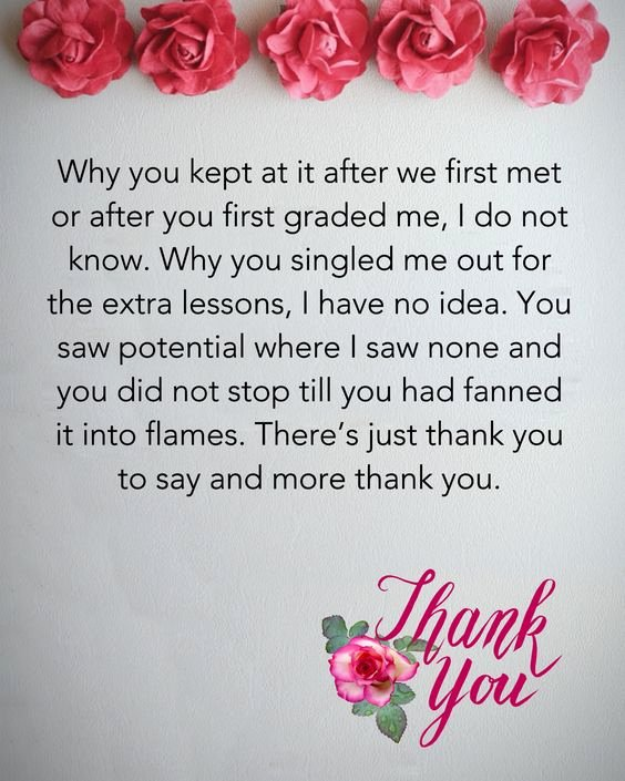 Thank You Note for Teacher Beautiful Thank You Teacher Messages & Quotes From Students and Parents