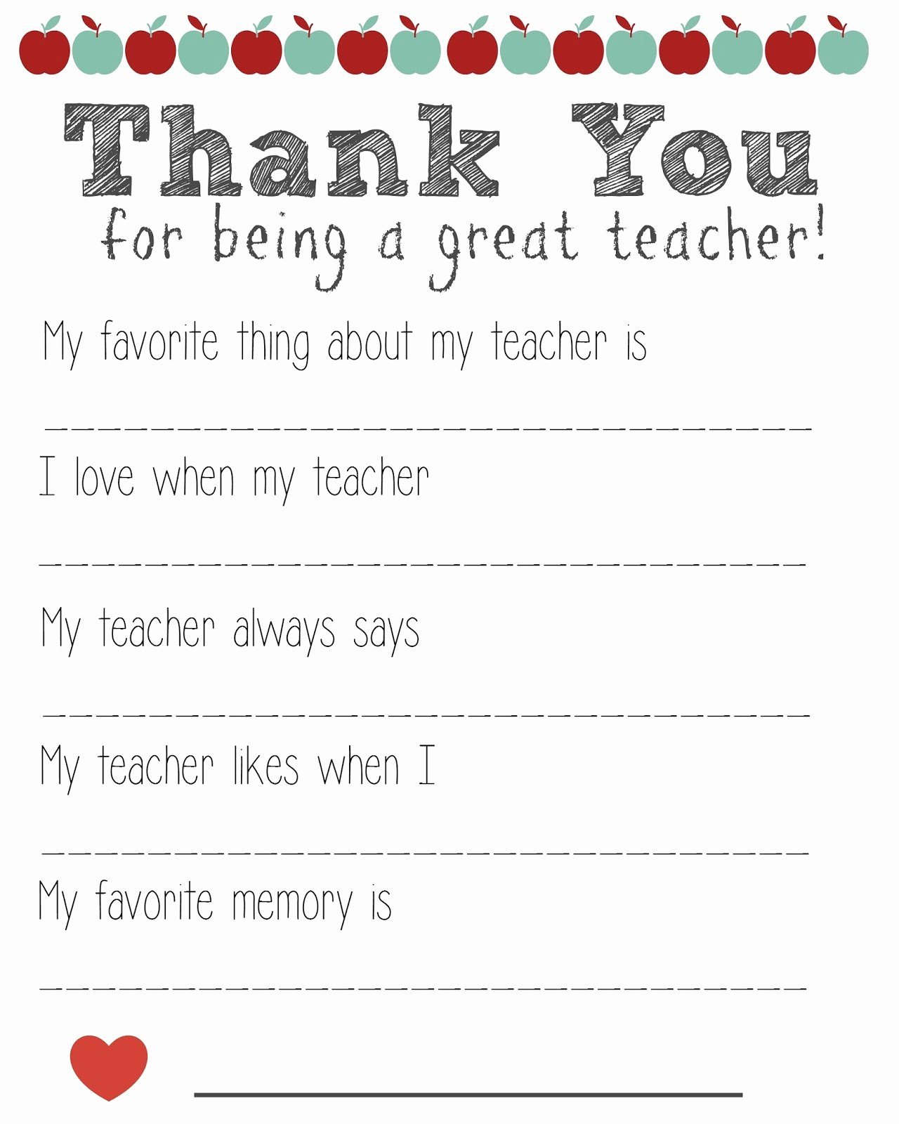 Thank You Note for Teacher Best Of Thank You Teacher Free Printable
