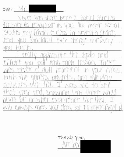 Thank You Note for Teacher Fresh How to Thank A Teacher Example Notes Included