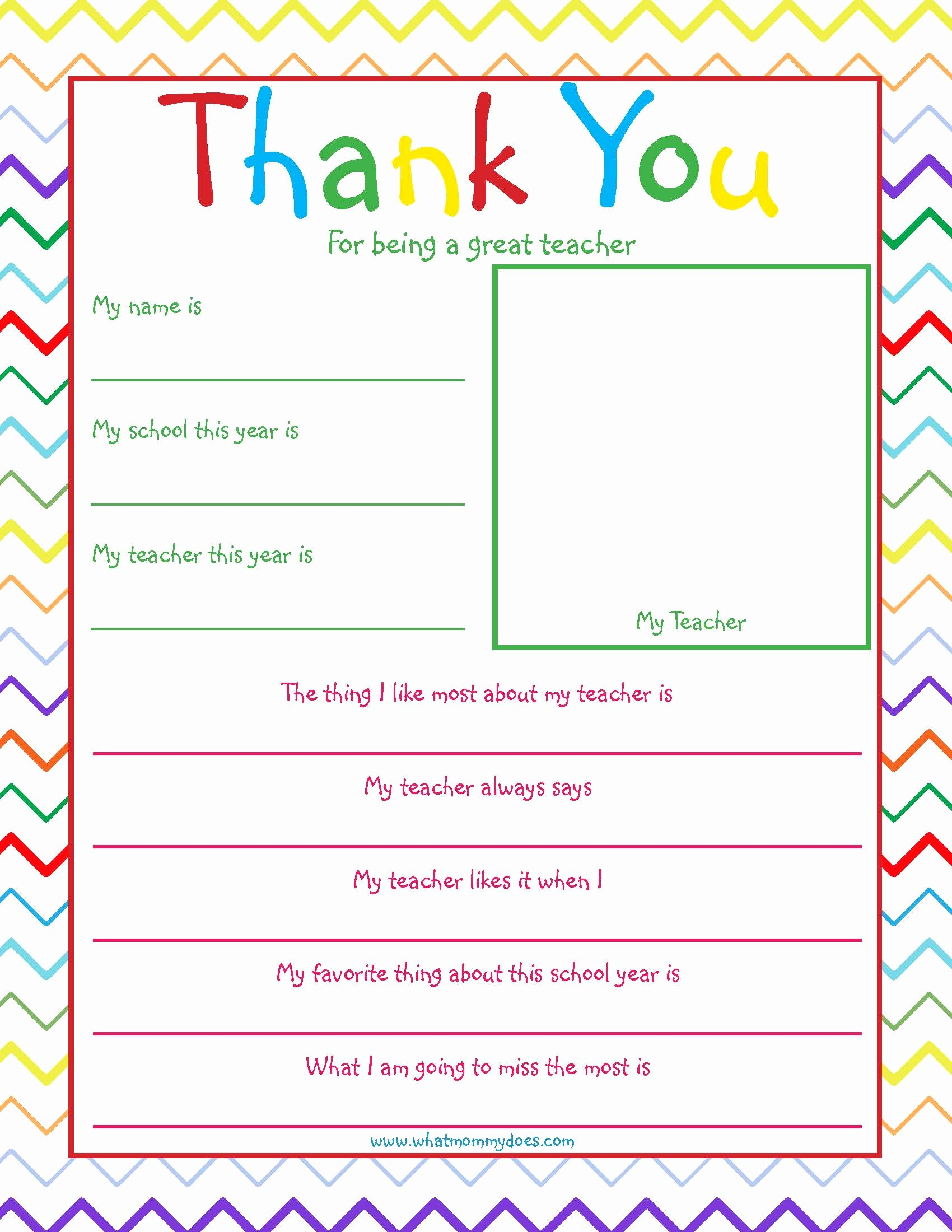 Thank You Note for Teacher Inspirational Free Printable Teacher Thank You Note What Mommy Does