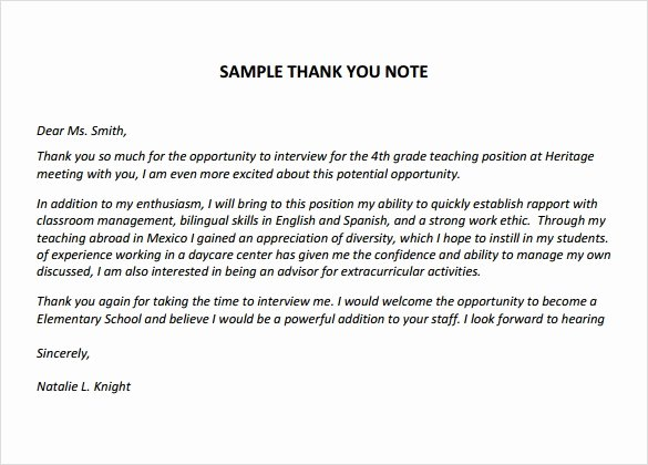 Thank You Note for Teacher Inspirational Sample Thank You Notes for Teachers 5 Documents In Pdf Word