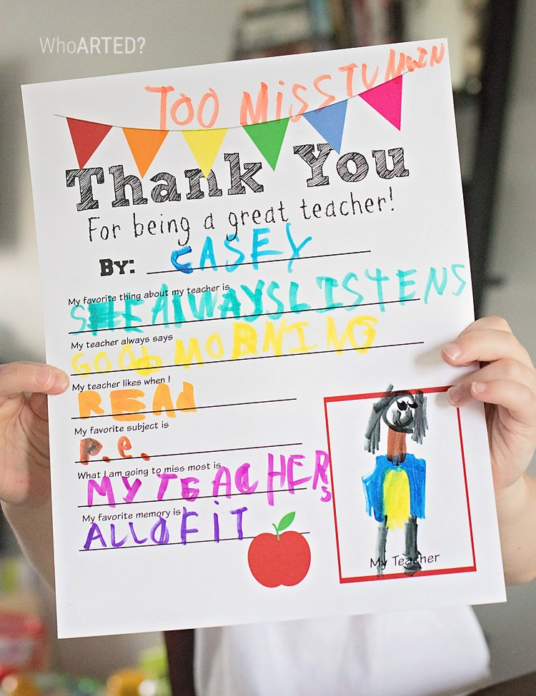 Thank You Note for Teacher Inspirational Traceable Teacher Appreciation Thank You Printable – who Arted