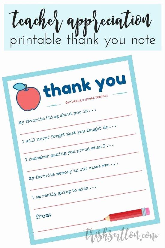 Thank You Note for Teacher New Teacher Appreciation Week Printable Trishsutton