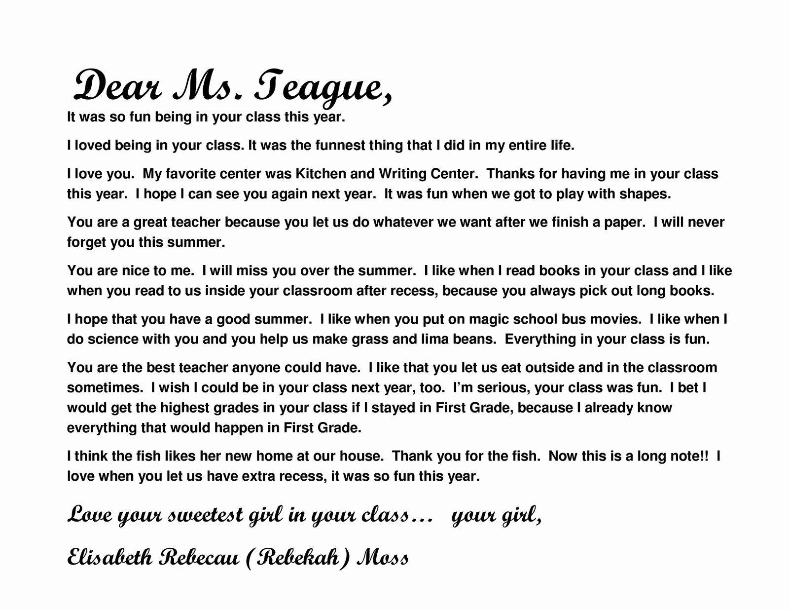 Thank You Note From Teacher Awesome Moss Moments Teacher Thank You Notes