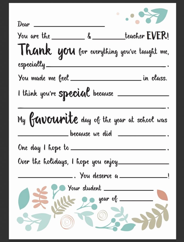 Thank You Note From Teacher Beautiful Dear Teacher Letter – Be A Fun Mum