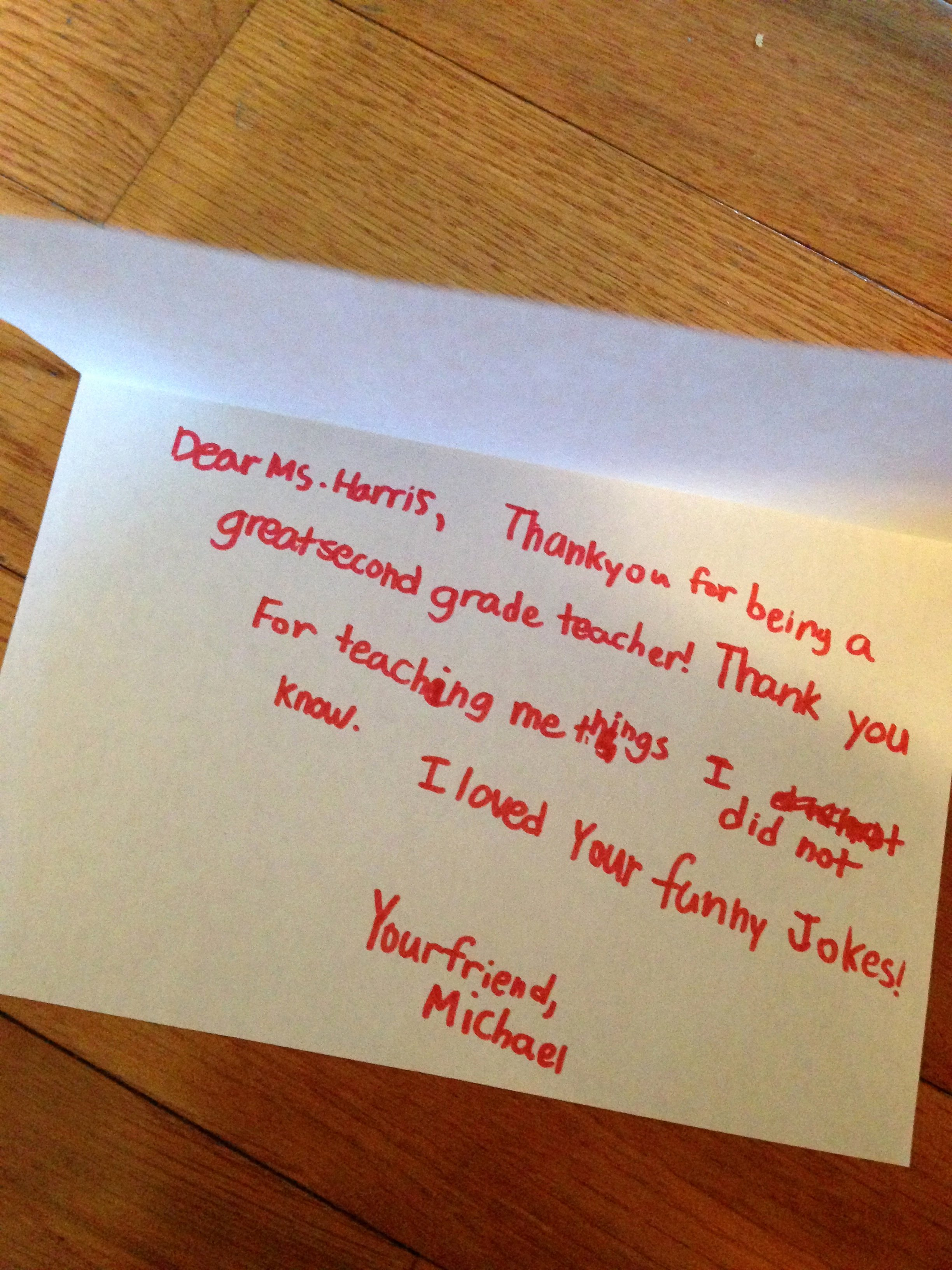 Thank You Note From Teacher Beautiful Volunteers Archives Sweet tooth Munications