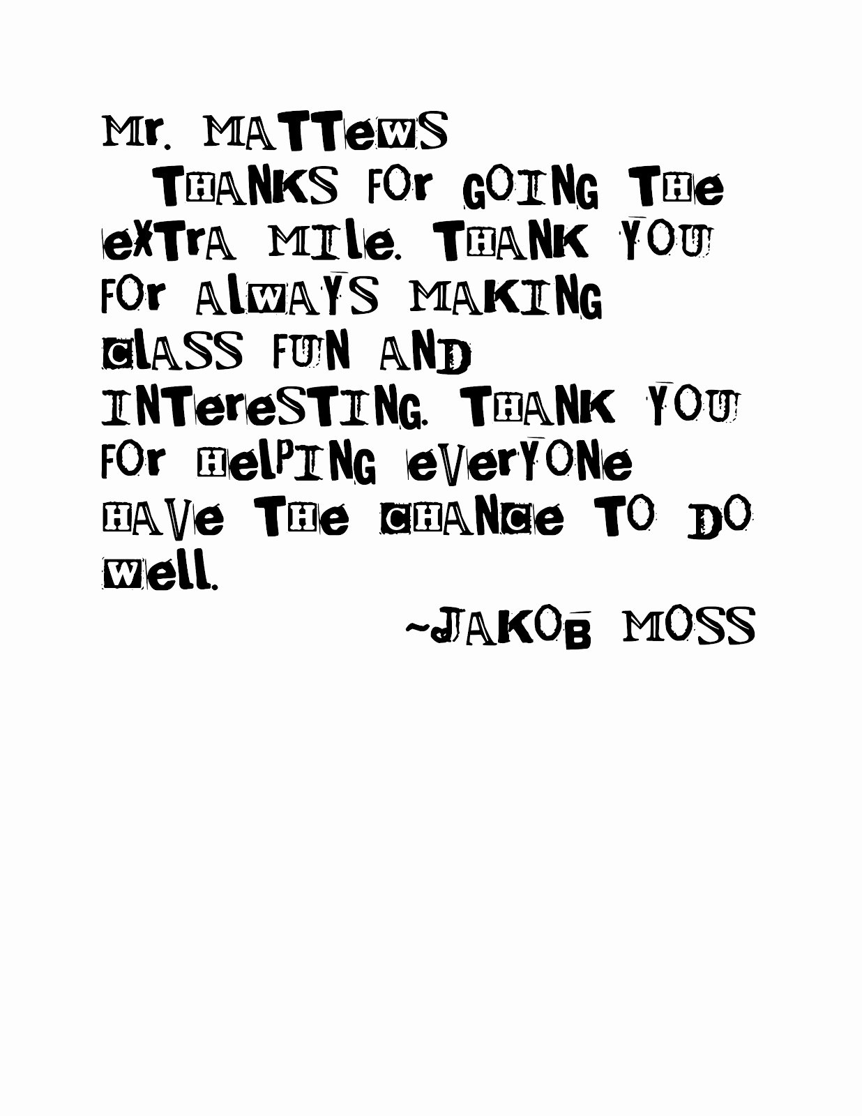 Thank You Note From Teacher Best Of Moss Moments Simple Teacher Thank You