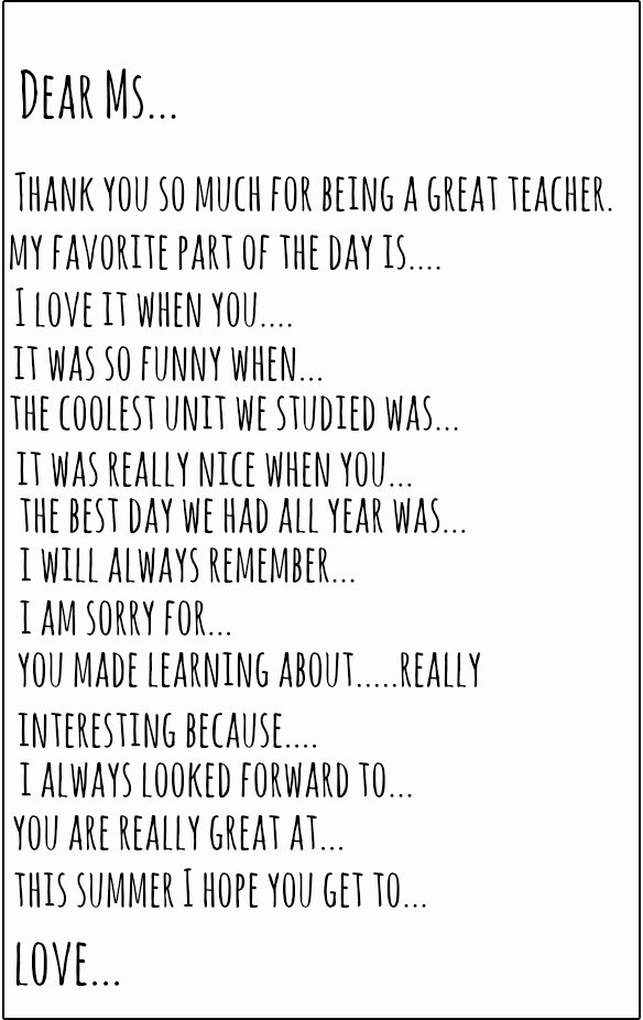 Thank You Note From Teacher Fresh Teacher Thank You Note Prompt – Brooke Romney Writes