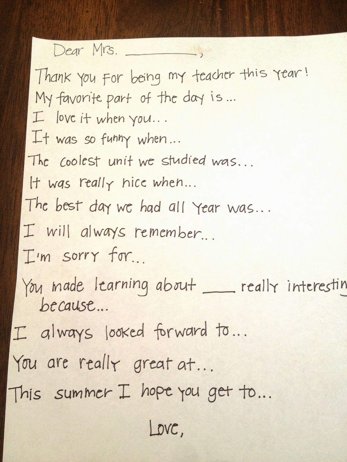 Thank You Note From Teacher Fresh Teacher Thank You Note Prompts