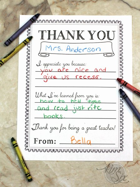 Thank You Note From Teacher Inspirational Printable Teacher Thank You Note