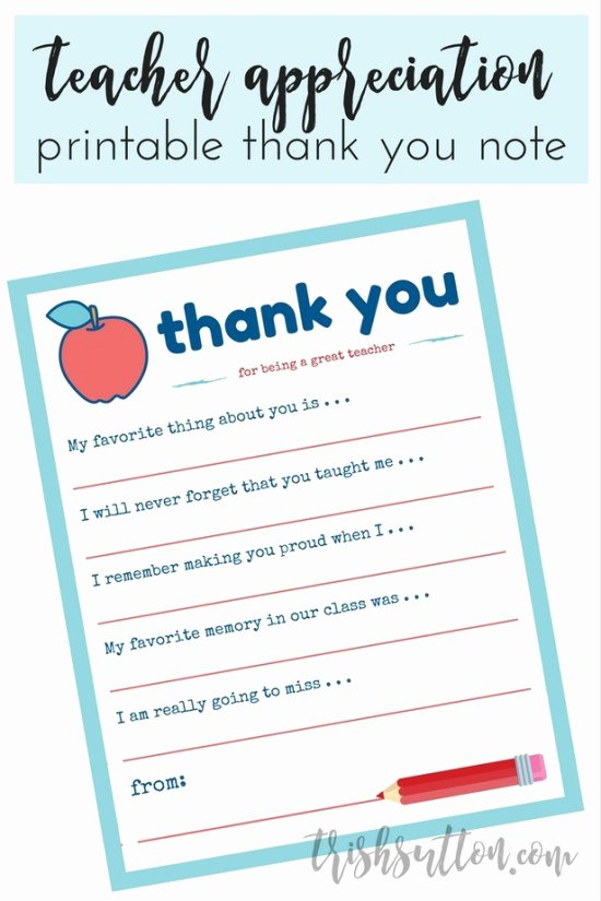 Thank You Note From Teacher Luxury Teacher Appreciation Week Printable Thank You Note