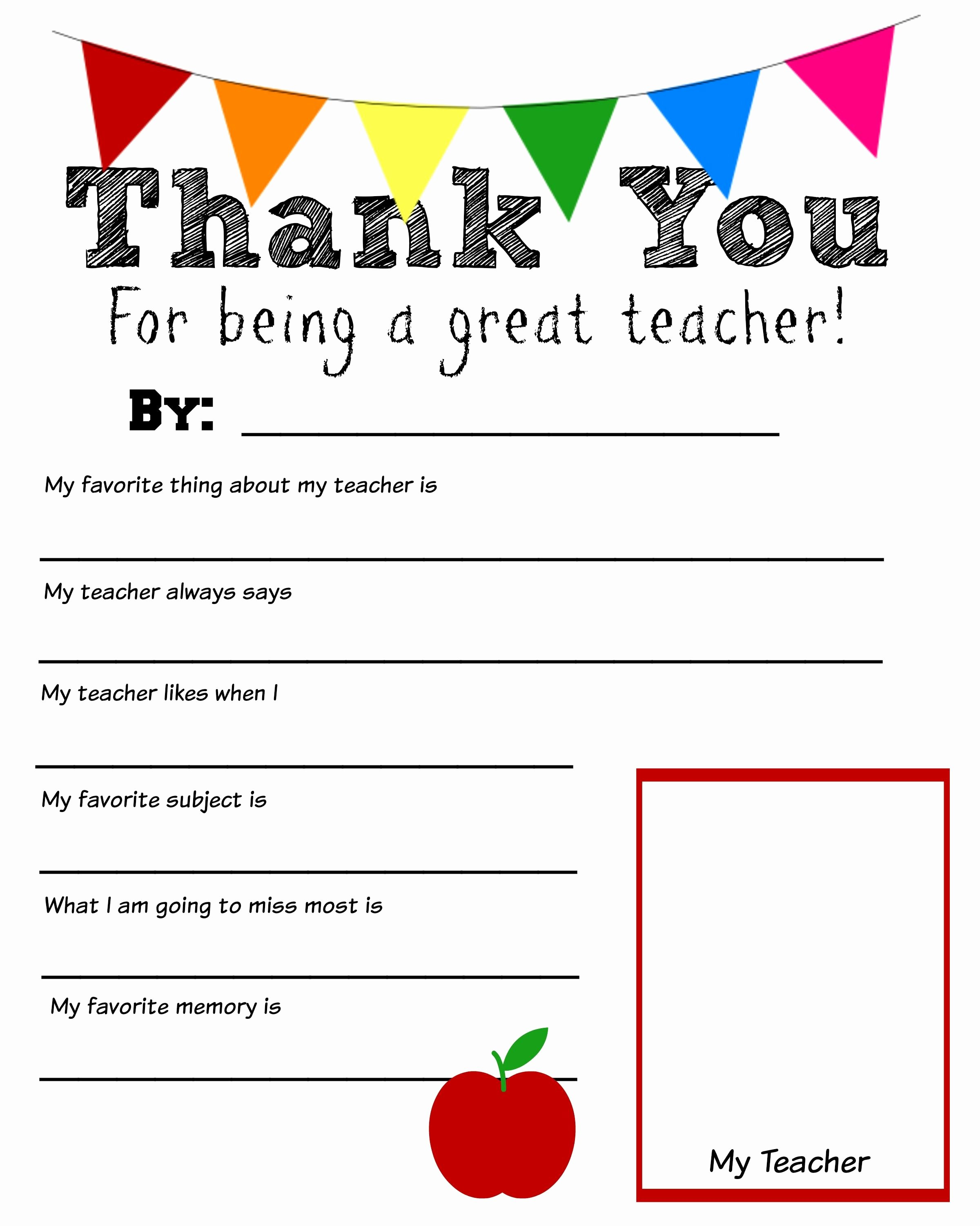 Thank You Note From Teacher Luxury Thank You Teacher Free Printable School Days