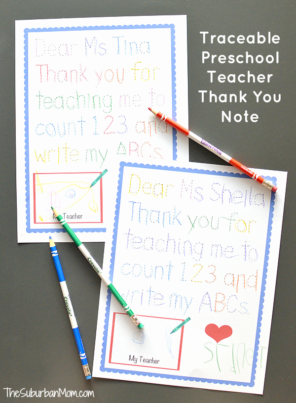 Thank You Note From Teacher New Traceable Preschool Teacher Thank You Note