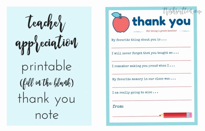 Thank You Note From Teacher Unique Teacher Appreciation Week Printable Thank You Note
