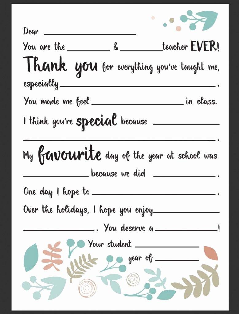 Thank You Note to Teacher Inspirational Dear Teacher Letter Be A Fun Mum Teacher Gifts