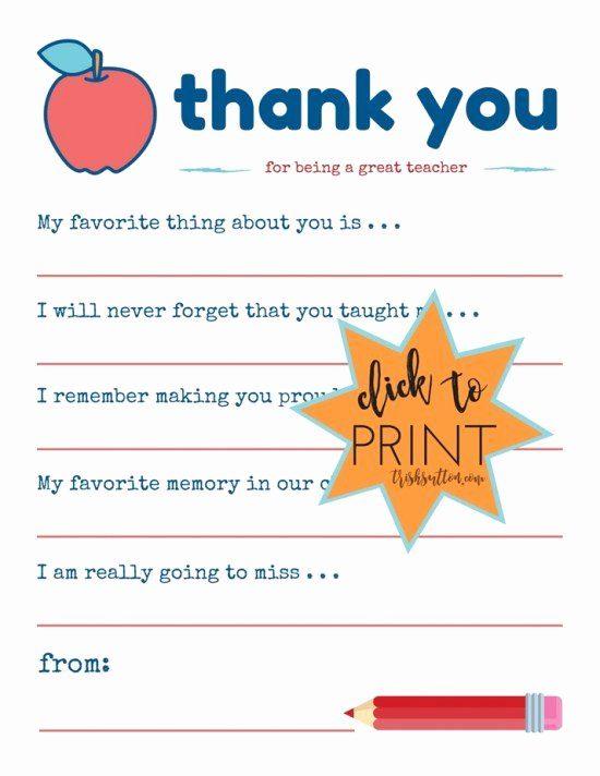 Thank You Note to Teacher Inspirational Teacher Appreciation Week Printable Thank You Note