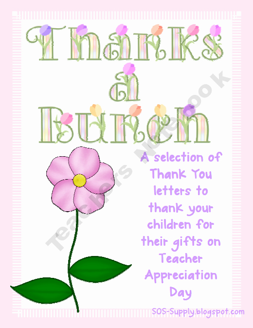 Thank You Note to Teacher Lovely Thanks A Bunch Thank You Notes for Teachers Free Prek 8th Grade Pinterest